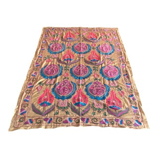 Silk Suzani Tapestry / Handmade Throw For Sale