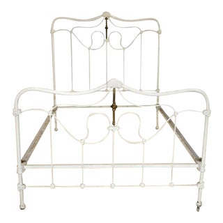 Antique Victorian Iron Full Size White Bed For Sale