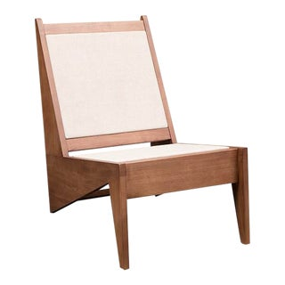 Vesta Hugo Walnut and Linen Lounge Chair For Sale