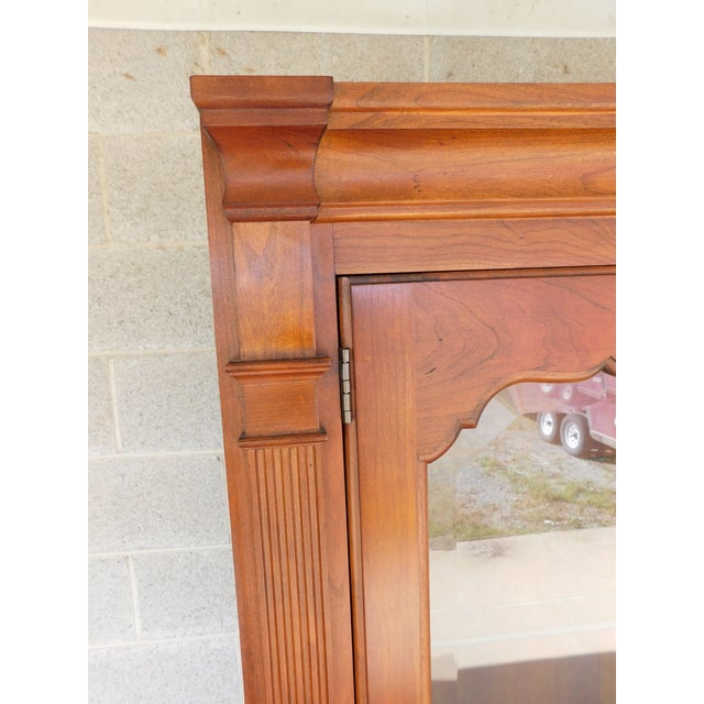 """Stickley Cherry 4 Door Bookcase Lighted Display Wall Cabinet Model 4740 """"B"""" For Sale - Image 11 of 13"""