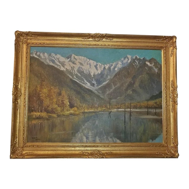 Hiyashi NoBuo Large Oil on Canvas – Lake & Snow Mountains For Sale