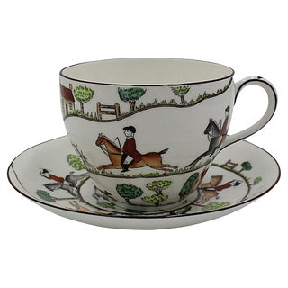 Hand-Painted Hunting Scene Large Breakfast Cup For Sale