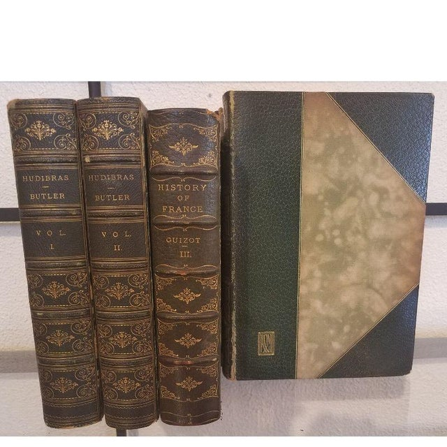 Antique Green Leather Books - Set of 5 For Sale In Milwaukee - Image 6 of 11