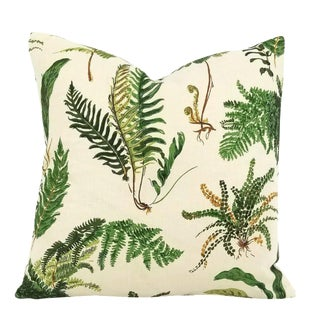 "Boho Chic F. Schumacher Les Fougeres in the Color Document Linen Pillow Cover - 20"" X 20"" For Sale"