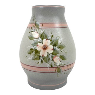 Ceramic Pottery Vase with Flower Motif For Sale