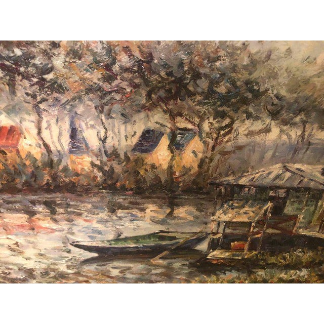 American Canal Scene Oil on Canvas Painting Signed For Sale - Image 3 of 8