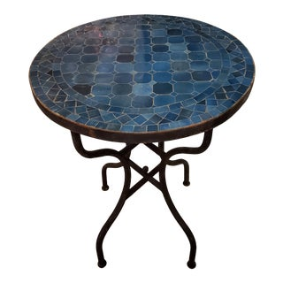 "24"" Blue Petrol Moroccan Mosaic Table For Sale"