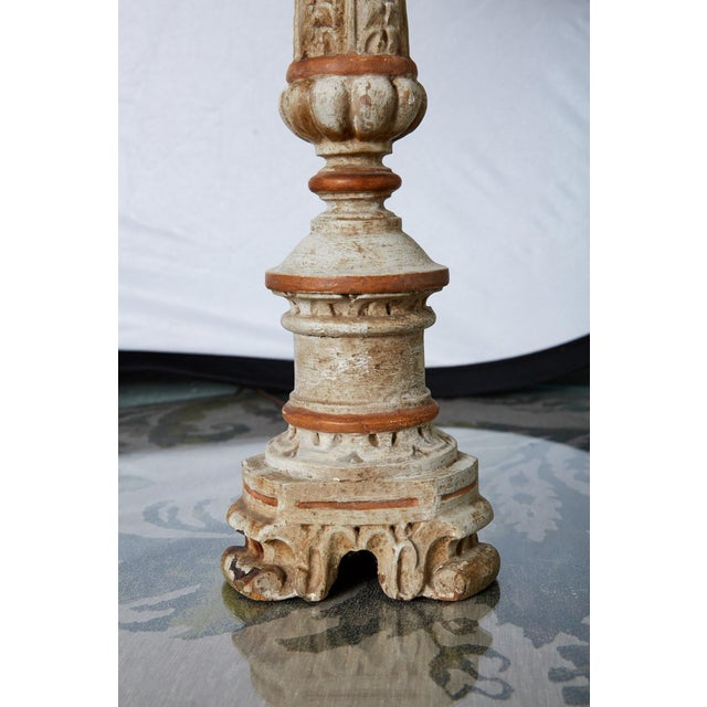French Louis XVI Carved and Painted Alter Candlestick Lamp For Sale - Image 3 of 9