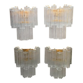 "2 Tier 24k Gold and Clear Murano Glass ""Tronchi"" Wall Sconces - Set of 4 For Sale"