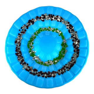 Vintage Turquoise Fused Glass Art Bowl For Sale