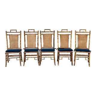 1950s Vintage Tortoise Shell Chippendale Chinoiserie Bamboo Dining Chairs - Set of 5 For Sale