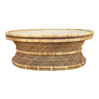 Vintage Mid Century Modern Bohemian Twisted Rattan Hourglass Coffee Table For Sale