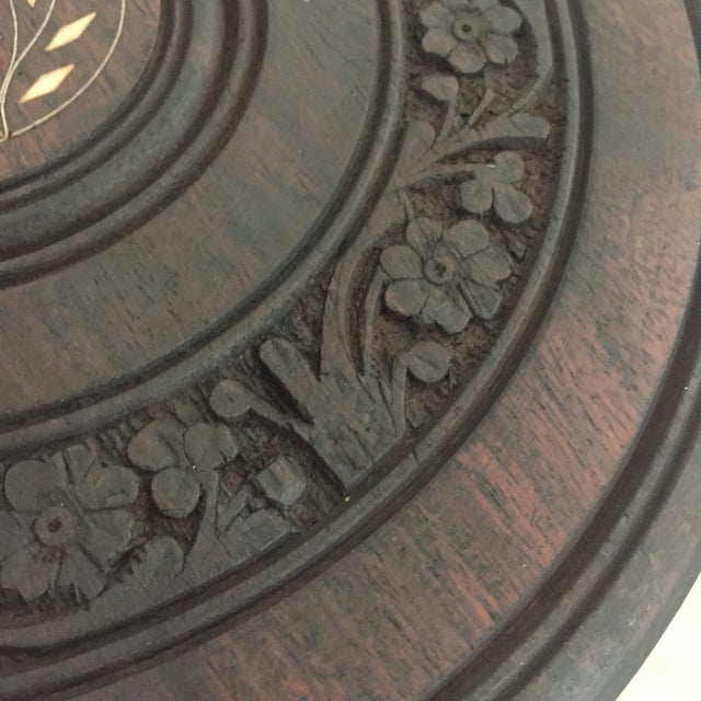 Floral Carved Chai Table - Image 6 of 9