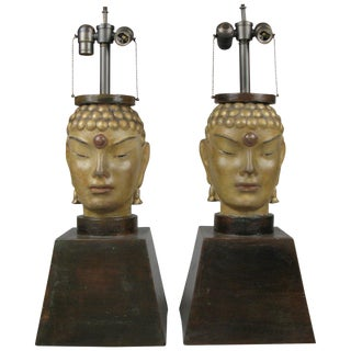 Pair of 1940s Buddha Lamps Attributed to James Mont For Sale