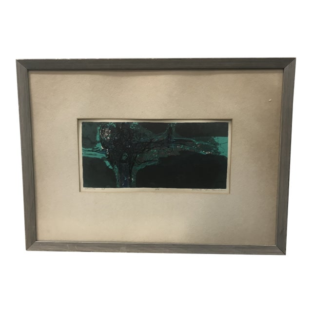 "1960s Vintage Douglas H Teller ""Grotto"" Framed Abstract Mixed Media Painting For Sale"