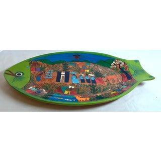 Folk Art Hand Painted Terra Cotta Fish Plate Preview