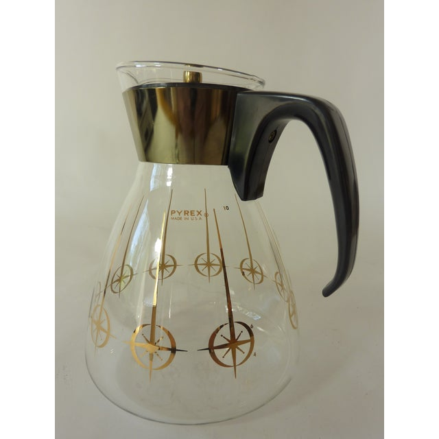 Vintage 1960's Pyrex Glass Gold Atomic Starburst Large Glass Coffee Carafe For Sale - Image 13 of 13