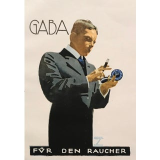 Original 1926 German Art Deco Tobacco Print, Gaba For Sale
