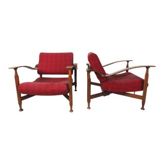 Pair of Sculpted Teak Mid-Century Upholstered Lounge Chairs For Sale