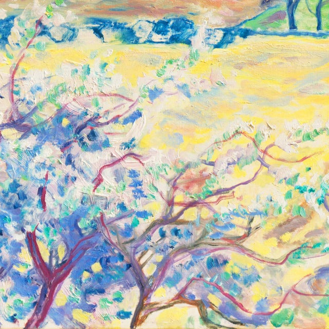 Light Yellow 'Sunlit Spring Landscape', by Ejnar Kragh, Paris, Danish Post Impressionist For Sale - Image 8 of 10