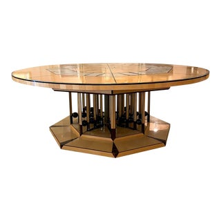 Monumental One of a Kind Artist Round Table of Mixed Woods, Brass and Stingray Shagreen For Sale