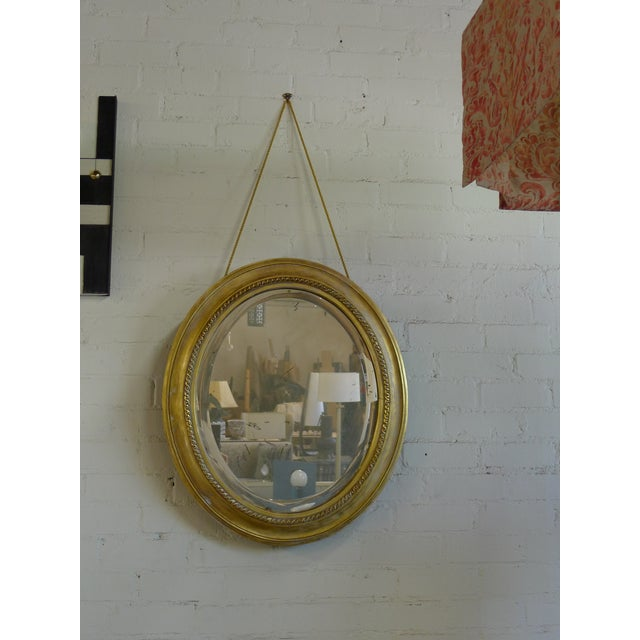 Distressed Gilt Oval Antiqued Mirror Hung by Rope For Sale - Image 13 of 13