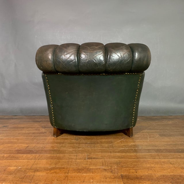 French Art Deco Green Leather Club Chair, 1930s For Sale - Image 9 of 12
