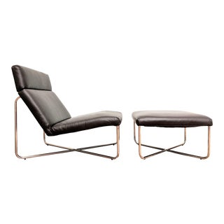 Minimalist Leather & Chrome Lounge Chair + Ottoman For Sale