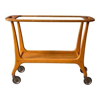 1960s Vintage German Wooden Bar Cart For Sale