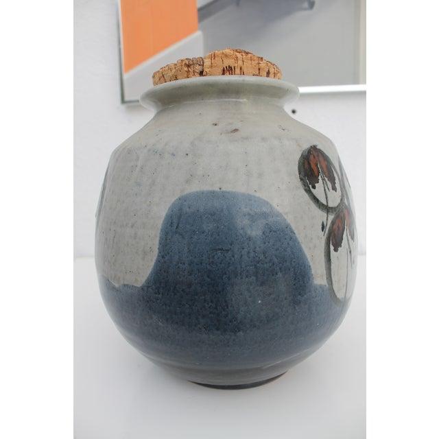 Vintage Studio Pottery Jar Vase & Cork Stopper For Sale In Miami - Image 6 of 9
