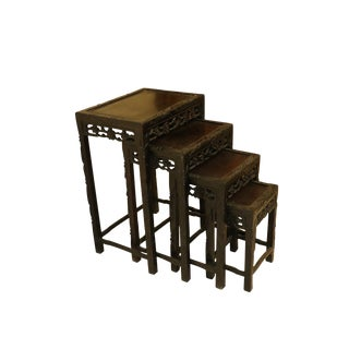 1940s Oriental Nesting Tables - Set of 4 For Sale