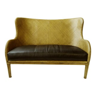 Henredon Modern Wicker and Leather Bench