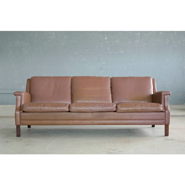 Classic Danish Mid-Century Olive Brown Leather Sofa