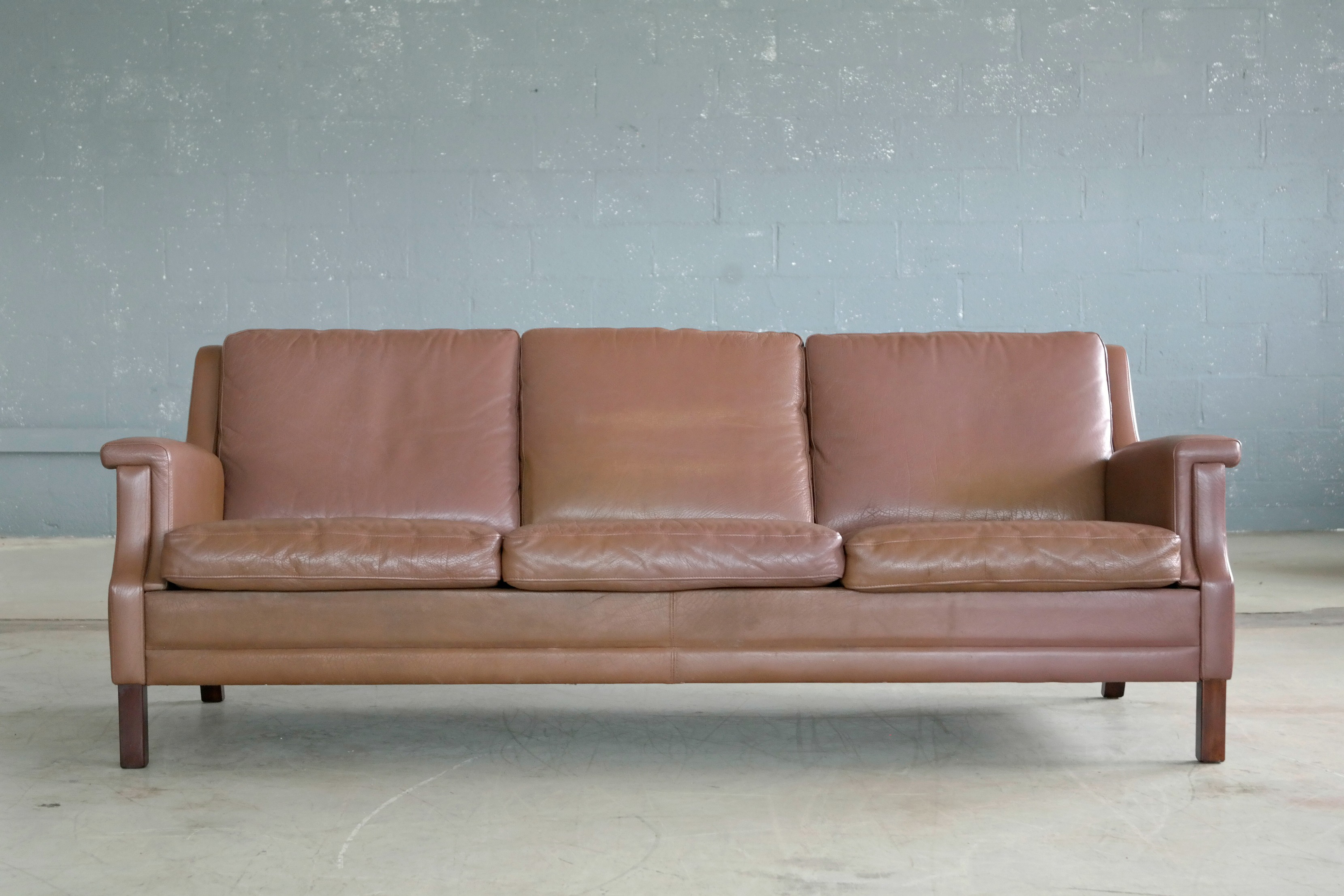 Classic Danish Mid Century Olive Brown Leather Sofa For Sale   Image 9 Of 9
