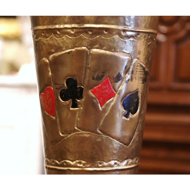 Brass Early 20th Century French Brass Umbrella Stand With Playing Card Symbols For Sale - Image 8 of 13