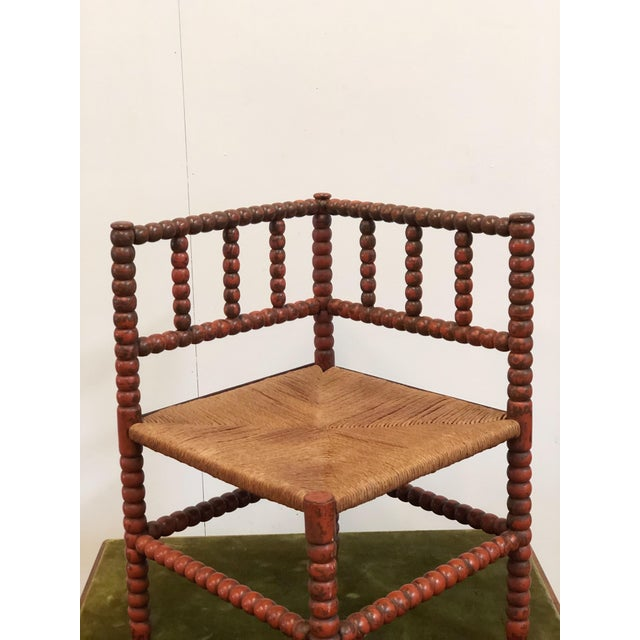 Wood 1940s Vintage French Turned Wood Corner Chair For Sale - Image 7 of 10