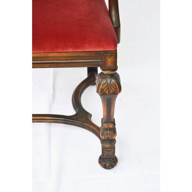 Bohemian Red Velvet Dining/Accent Chairs - A Pair - Image 4 of 7