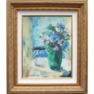 Vintage Floral Signed Still Life Oil Painting For Sale
