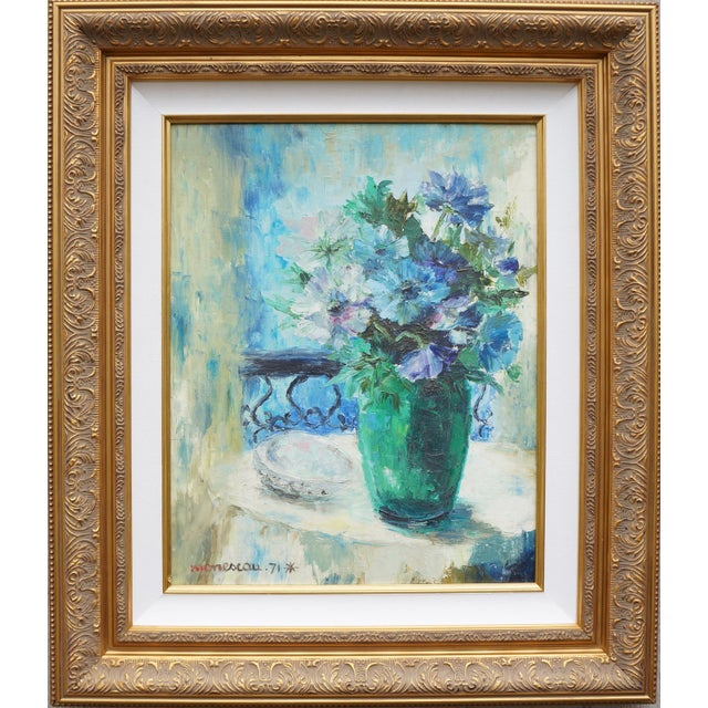 Vintage Floral Signed Still Life Oil Painting For Sale