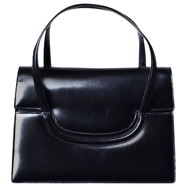 1960s Gucci Black Leather Bag For Sale