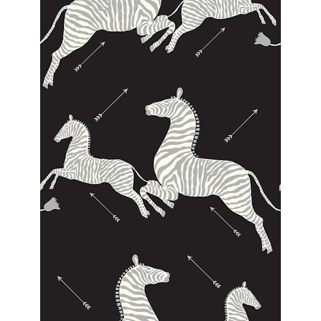 Safari Sample, Scalamandre Zebras, Black & Silver Wallpaper For Sale - Image 3 of 3