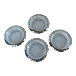 Sterling Silver and Glass Coasters - 4 Pieces For Sale
