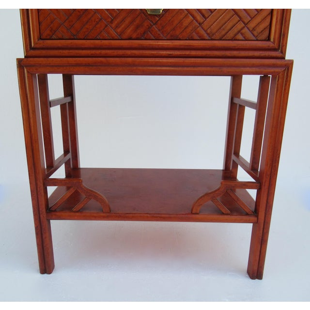 C.1970s Vintage Chinoiserie Orange Lacquered Nightstand, Side/End Reading Table by Thomasville For Sale - Image 10 of 13