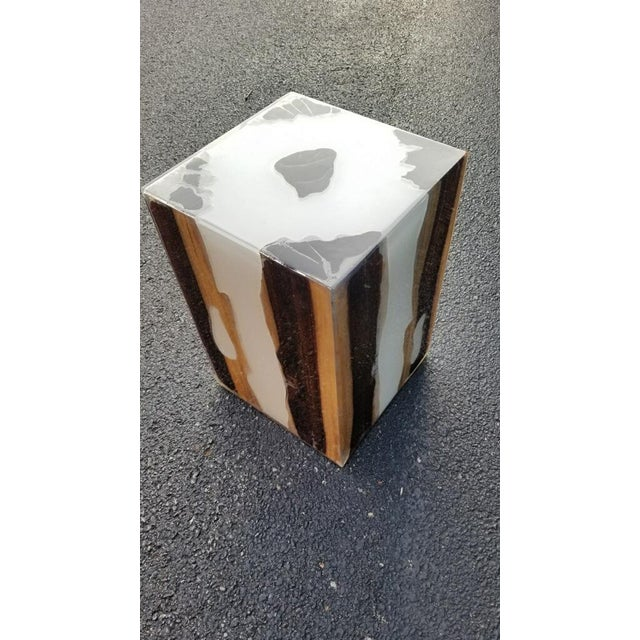 Made Goods Declan Wooden Stool with Metal Inlay A take on our cubed wood accent styles, the Declan features wood panels...