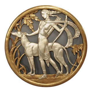 American Art Deco Round Gilt And Silver Gilt Over Plaster Filigree Wall Plaque For Sale