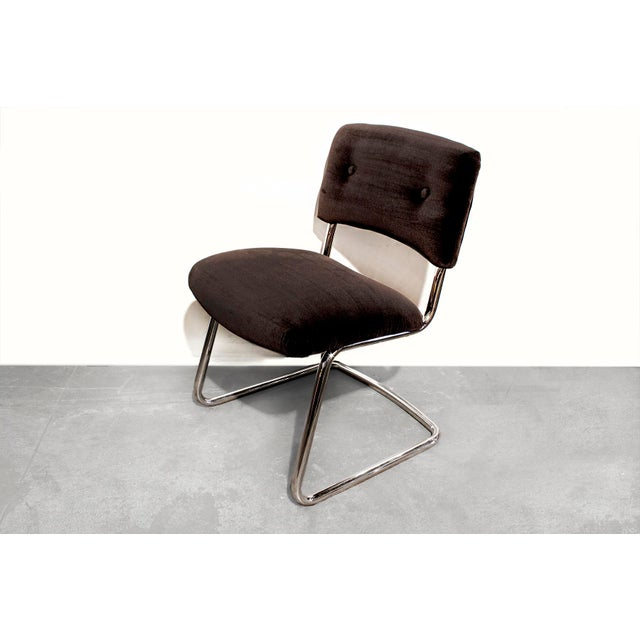 Steelcase Brown Micro-Velvet Cantilever Side Chair - Image 2 of 7