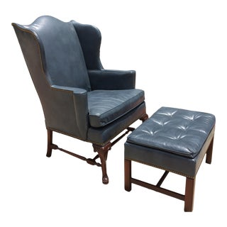 'Hickory Chair' Wingback Leather Chair & Ottoman For Sale