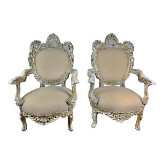 Early 20th C. French Painted Rococo Style Armchairs For Sale