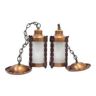 Arts & Crafts Style Copper Lantern Lights Pendants - a Pair For Sale