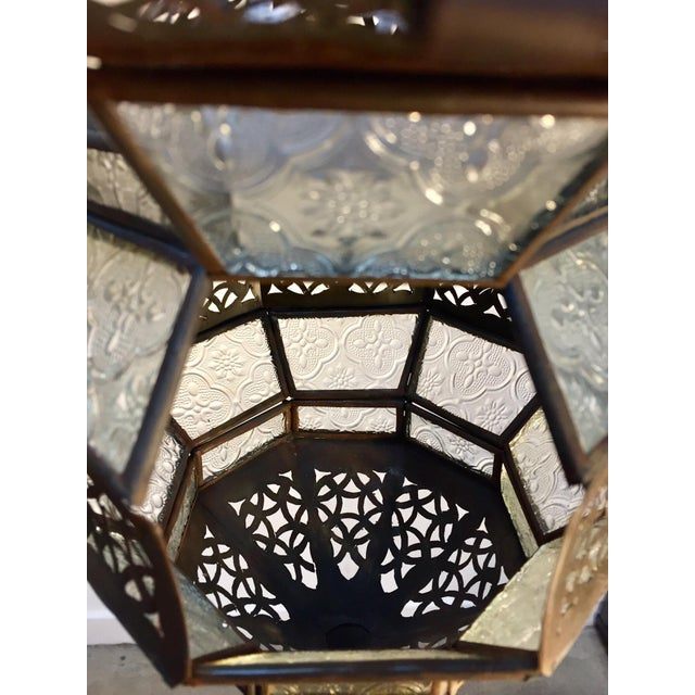 Handcrafted Moroccan Metal and Clear Glass Lantern, Octagonal Shape For Sale - Image 10 of 12